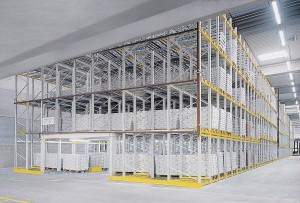 Pallet shelving / for heavy loads / steel / high-rise